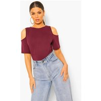 Cold Shoulder Curved Hem Tee - berry