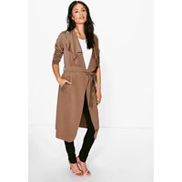 Shawl Collar Belted Duster - camel