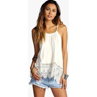 Halter Crochet Trim Top - cream