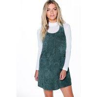 Cord Pinafore Dress - emerald