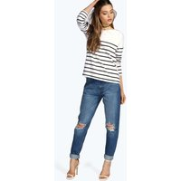 Mid Rise Relaxed Boyfriend Jeans - mid blue