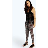 Aztec Print Relaxed Joggers - red