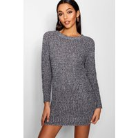 Soft Marl Knit Jumper Dress - grey