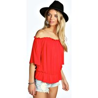 Shirred Off The Shoulder 1/2 Sleeve Top - orange