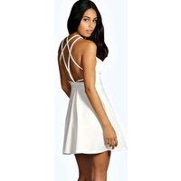 Crepe Strappy Back Skater Dress - ivory