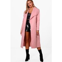 Belted Shawl Collar Coat - pink