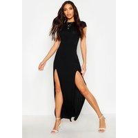 Front Split Maxi Dress - black