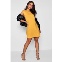 Drop Armhole T-Shirt Dress - mustard