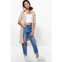 boohoo Duster Coat - stone