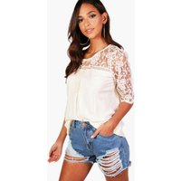 Crochet Panel 3/4 Sleeve Blouse - cream