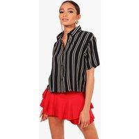 Striped Short Sleeve Boxy Shirt - navy