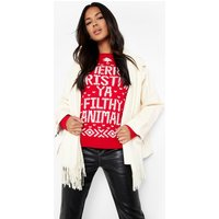 Merry Christmas Ya Filthy Animal Jumper - red