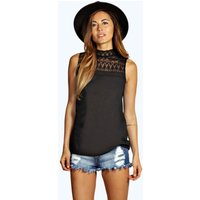 Lace High Neck Woven Top - black