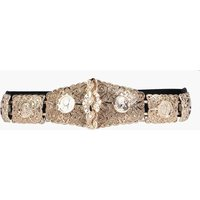 Textured Metal Plate Waist Belt - gold