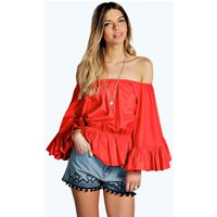 Off The Shoulder Frill Detail Top - red