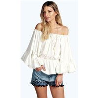 Off The Shoulder Frill Detail Top - white