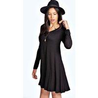 V Neck Long Sleev Swing Dress - black