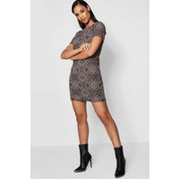 Printed Shift Dress - stone