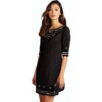 Heavily Embellished Shift Dresses - black