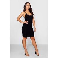 Strappy Front Bodycon Dress - black