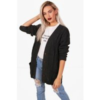 Cable Boyfriend Cardigan - charcoal