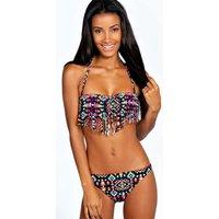 Aztec Print Tassel Bikini - multi