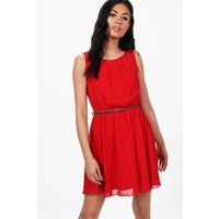 Sleeveless Chiffon Belted Skater Dress - red