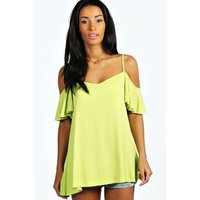 Frill Sleeve Swing Top - lime