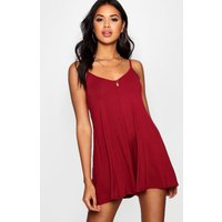 Strappy Swing Playsuit - berry