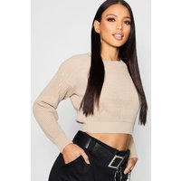 Crop Fisherman Jumper - stone
