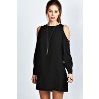 Solid Colour Open Shoulder Shift Dress - black