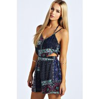 Strappy Cut Out Moroccan Print Playsuit - multi