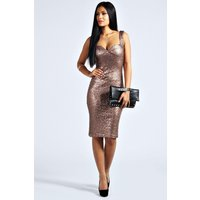 Sequin Fitted Cups Midi Dress - bronze