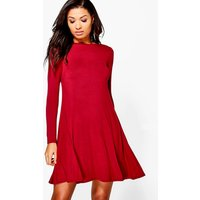 Scoop Neck Long Sleeve Swing Dress - berry