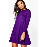 Scoop Neck Long Sleeve Swing Dress - grape