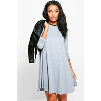 Scoop Neck Long Sleeve Swing Dress - grey marl