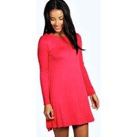 Scoop Neck Long Sleeve Swing Dress - red