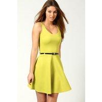 Scoop Neck Skater Dress - lime