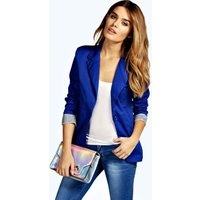 Colour Block Blazer - cobalt