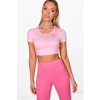 Short Sleeve Crop Top - pink