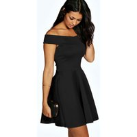 Off The Shoulder Skater Dress - black