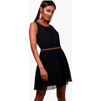 Sleeveless Chiffon Belted Skater Dress - black