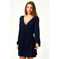 Jersey Long Sleeve Wrap Dress - navy