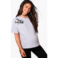 Charlotte Embroidered Sweat Top - grey