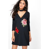 Evie Embroidered Choker Shift Dress - black
