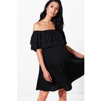 Zoe Off The Shoulder Ruffle Dress - black