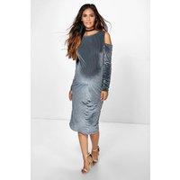 Cleo Burn Out Stripe Velvet Midi Dress - grey