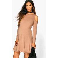 Holly Long Sleeve Cold Shoulder Swing Dress - sand