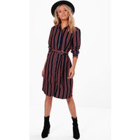 Stripe Buckle Shirt Dress - navy