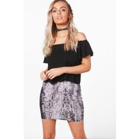 Snake Print Mini Skirt - grey